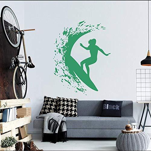 Qsdfcc Wandtattoo Vinyl Salon Mädchen Aufkleber Schönes Mädchen mit Schwert Samurai Anime Haushaltswaren Wall Art Decor Wandbild Japan Style blau 57X62CM