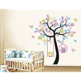 Hanmero Vinilo Pegatina Decorativa Infantil Adhesiva Para Pared Búho en árbol