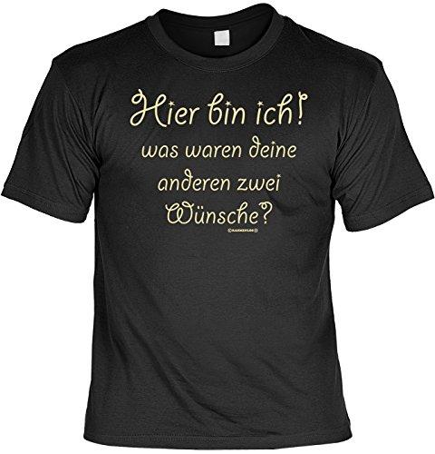 Sprüche/Spaß-Shirt/Fun-Shirt/Rubrik lustige Sprüche: Hier bin ich! geniales Geschenk Schwarz