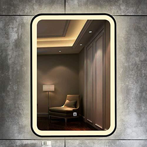 L&ED Espejo de baño con luz LED, Espejo de vanidad Decorativo, luz de Dos Colores + antivaho Marco...