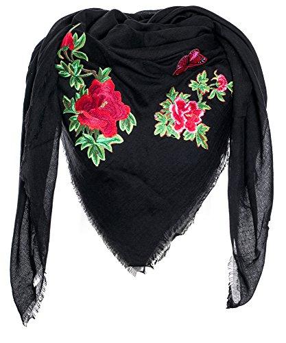 Gadzo schal mit patches tuch schwarz xxl tuch damen xxl schwarz Halstuch Schal schwarz P0409