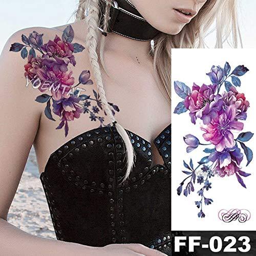 5Pcs-Aquarell Rose Lily Tattoos Für Frauen Tattoo Sticker 3D Blume Juwelen Körper Brust Hals Kunst Wasserdicht Arm Tattoo -In Tattoos Von 06-Ff023 (Vintage Juwel Hals)