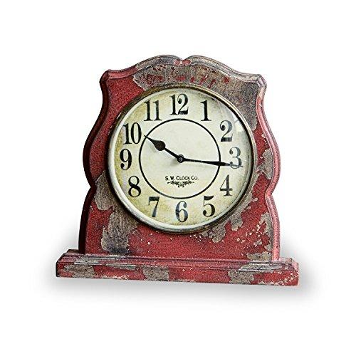 Loberon Uhr Nelle, Mangoholz/Glasabdeckung, H/B/T ca. 31/33 / 6 cm, antikrot