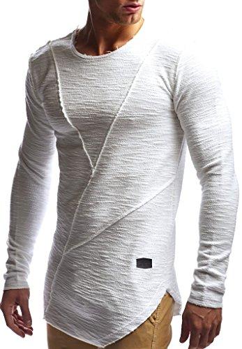 LEIF NELSON Herren Pullover Rundhals-Ausschnitt | Schwarzer Männer Longsleeve | dünner Pulli Sweatshirt Langarmshirt Crew Neck | Jungen Hoodie T-Shirt Langarm Oversize | LN6323 Ecru XX-Large