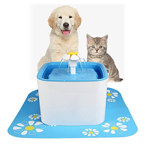 ParaCity Pet Water Fountain 2.5L Large Capacity Automatic Electric Pet Drinking Fountain Flower Style Dog Cat Drinking Bowl (Upgrade Pet Fountain)