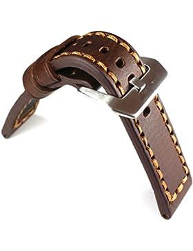 24mm FLIEGER PANEREI Schließe Echt LEDER Band Lederband Uhrenband Uhrenarmband braun ROBUST Stark Vintage Used...