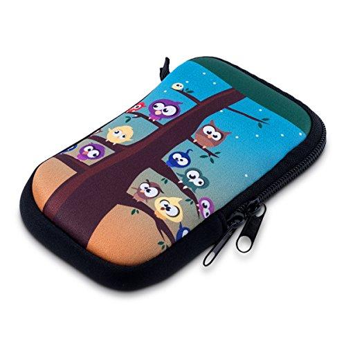 """kwmobile Handytasche für Smartphones S - 4,5\"""" - Neopren Handy Tasche Hülle Cover Case Schutzhülle in Mehrfarbig Blau Braun"""