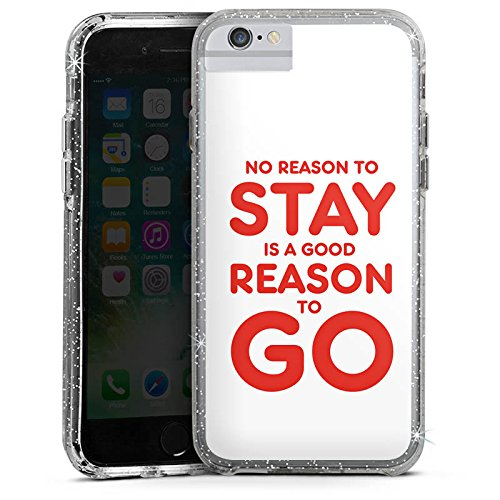 Apple iPhone 8 Bumper Hülle Bumper Case Glitzer Hülle Funny Lustig Statement Bumper Case Glitzer silber