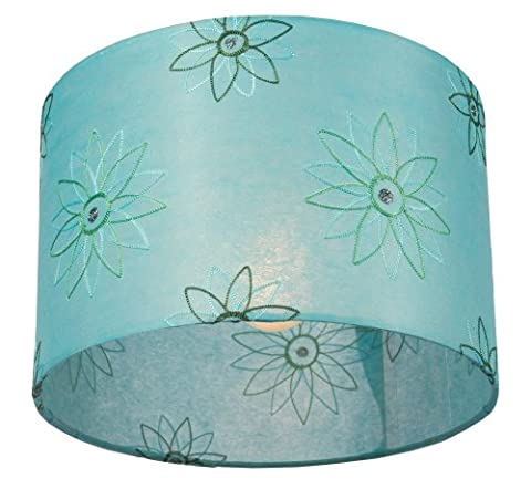 Anglesey Paper Company 30 x 20 cm Medium Drum Lamp Shade Abstract flower on Teal Embroidery
