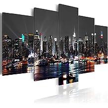 Cuadro en Lienzo 200x100 cm - 3 tres colores a elegir - 5 Partes - Formato Grande - Impresion en calidad fotografica - Cuadro en lienzo tejido-no tejido - City ciudad New York NYC Nacht d-A-0022-b-n 200x100 cm B&D XXL