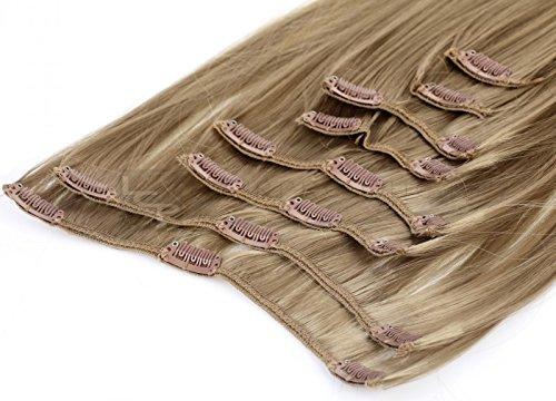 LCP Clip In Extensions Haarverlängerung 50 cm 8 Haarteile Set, Farbe:naturbraun
