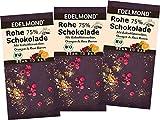 Edelmond Bio 75% rohe Schokolade mit Rosa Beere, Orange und Kokosblütennektar, sonst ohne Zucker. Als Geschenk: Roh und Vegan (3er Pack)