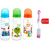 Mee Mee Eazy Flo Premium Printed Baby Feeding Bottle 250ml ( Pack Of 3) ( Color May Vary) With Bottle And Teat Brush(Free )