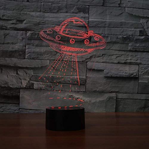 XXIONG Erstaunliche 7 Farbe visuelle Atmosphären 3D UFO-Modellierung LED-Nachtlicht USB-Schreibtischlampe Stimmung Aerocraft Lamparas Beleuchtung Geburtstagsgeschenk - Deckenfluter Ist Muster