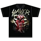 Slayer Skull Clench Camiseta, Negro, Large para Hombre