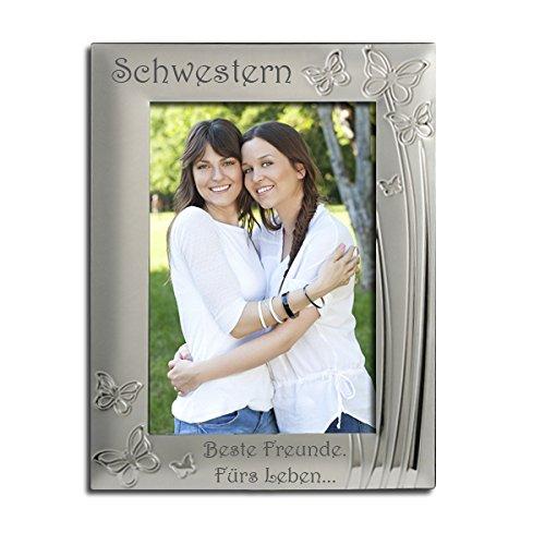 """Schwestern Bilderrahmen, versilbert, Schmetterling Design, Eingraviert mit """"Schwestern, Beste Freunde. Fürs Leben."""" Schwester Geschenk, Sisters (Schwestern Bilderrahmen)"""