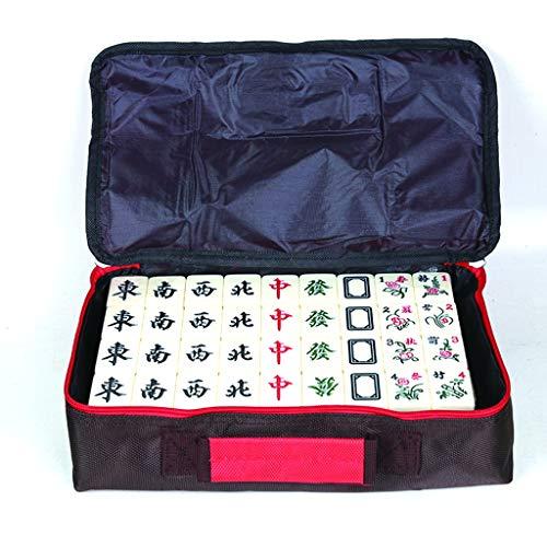 LIULAOHAN Mahjong Set, weiches Tuch verpackt Reise tragbare 144 Elfenbeinweiß Kratzfeste Melamin Mahjong, geeignet für Familienfeiern/Erholung im Freien (40 * 31 * 21 mm) (Size : Ivory White)