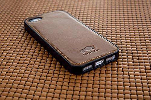 "Solo Pelle Iphone SE / 5 / 5S Case Lederhülle Ledertasche Backcover "" Flex "" aus echtem Leder (Floater Taupe) inkl. hochwertiger Geschenkverpackung Cognac Braun"