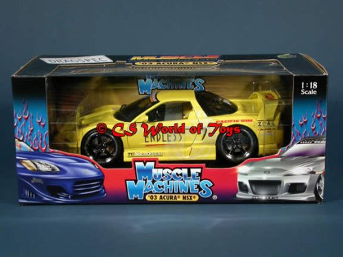 Muscle Machines - MUSCLE TUNERS - 2003 HONDA ACURA NSX - GELB - FAST & FURIOUS - Die-Cast 1:18