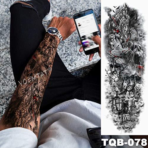 3pcsBig Arm Ärmel Tattoo Eule Hand Uhr wasserdicht Engel Wolke Leiter Mann volle rote Tätowierung 3pcs-22