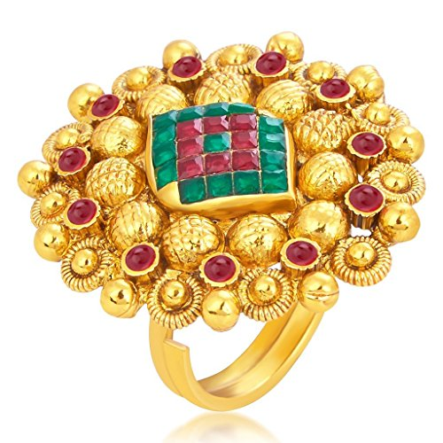 Sukkhi Marvellous Designer Traditional Cocktail Invisible Setting Gold Plated AD Finger Ring For Women