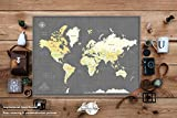 Travel Map Poster print or Mounted with Various Size & Color Options - Weltkarte Pinnwand