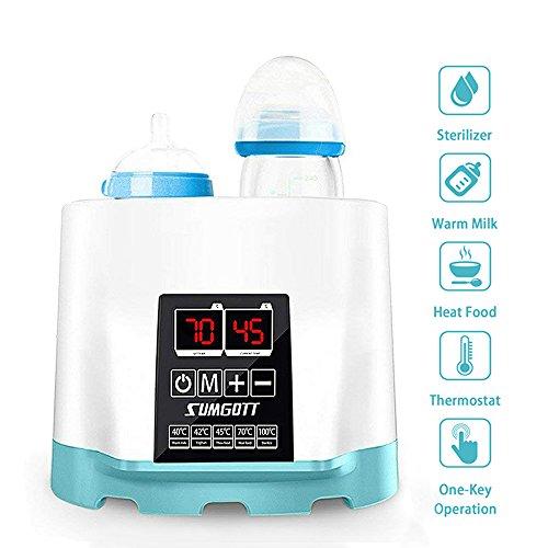 Baby Flaschenwärmer, SUMGOTT 5-in-1 Multifunktionale Flaschen Sterilisator und babykostwärmer mit LCD-Bildschirm (Einschließen Pinsel und Flaschenklammer)