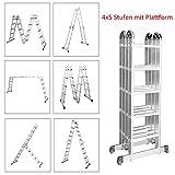 FROADP aluleiter mehrzweckleiter ausziehbar 550cm 4X5 Stufen - Verstellbar Klappleiter Gelenkleiter Leiter - bis 150 kg 20 Sprossen