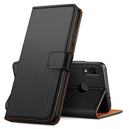 Hianjoo für Xiaomi Redmi 7 Hülle, Handyhülle Tasche Premium Leder Flip Wallet Case für Xiaomi Redmi 7 [Standfunktion] [Kartenfächern] [Magnetic Closure Snap], Schwarz - 4-port-snap
