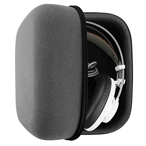 Headphones Case for AKG Q701, K701, K240, Beyerdynamic DT990, DT880, T1 Sennheiser HD650, HD600 Full Size Hard Large Carrying Case/Travel Bag (Saffiano Leather)