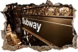 Pixxprint 3D_WD_S2372_62x42 Subway in London Wanddurchbruch 3D Wandtattoo, Vinyl, bunt, 62 x 42 x 0,02 cm