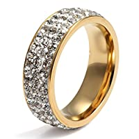 Chryssa Youree 7mm Women Stainless Steel Eternity Ring for Wedding Band Engagement Promise CZ Cubic Zirconia Crystal Circle Round Size 7 to12(SZZ-022) Size 8 Gold