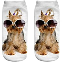 OHlive Suave Women Dog 3D Impreso Sneakers Liners Tobillo Calcetines (1 par-GG19-One Size) (Color : GG19, tamaño : Talla única)