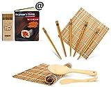 Bambus Sushi Kit, karbonisierte Rollen Matte für Schimmel-resistent, enthält 2 Rollmatten - 5 Paar Essstäbchen - Paddle Spreader Anleitung(PDF) für Anfänger, Rollen weiter! Anfänger Sushi Machen Set