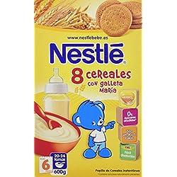Nestlé Papillas - 8 Cereales con Galleta María Papilla Instantánea - A Partir de 6 Meses - 2 Paquetes de 600 g - Total: 1200 g