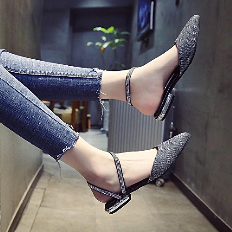 YMFIE Señoras de moda de verano baja señaló zapatos de diamantes y oro plata,37 UE,plateado -