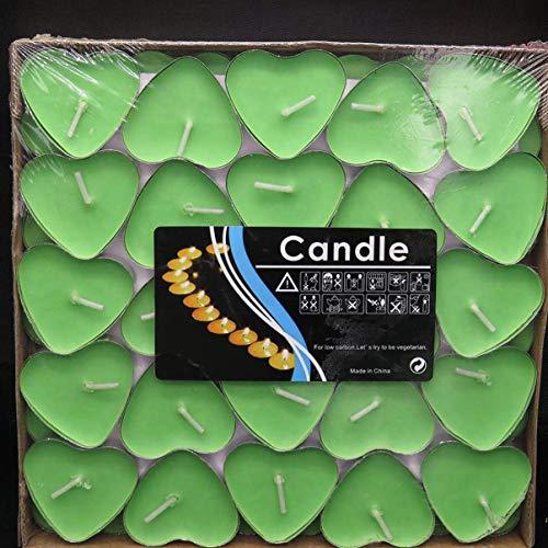 WeishenG Liebe Form Kerze DIY Hochzeitsparty Dekoration Rauchlos Tee Lichter Herzförmig Kerzen - Grün