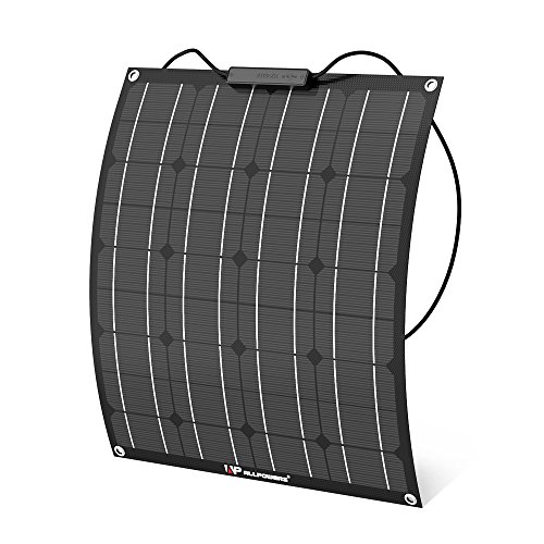ALLPOWERS 50W 18V 12V Flexible Solar Panel Ladegerät (mit ETFE Schicht, MC4 Anschlüsse) Semi Biegbare wasserfeste Solar Ladegerät Kit für RV, Boot, Zelt, Auto, Anhänger, usw -