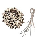 10pcs Lasergeschnittenen Holz Rentier Tag Verschönerung Mit String