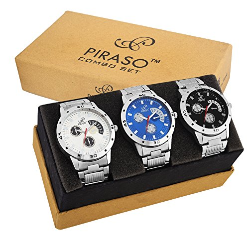 PIRASO Pack of 3 Multicolour Analog Analog Watch for Men and Boys