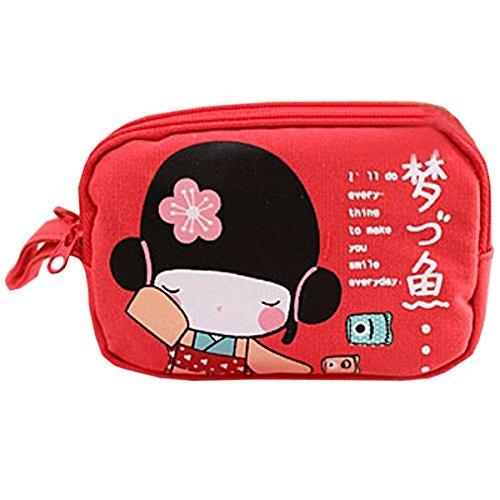 SODIAL(R) Nuova sveglia ragazza giapponese Stampa trasferimenti su tela Phone Bag chiusura lampo del doppio della borsa della moneta Sacchetto Rosso
