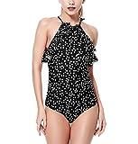 Wantdo Damen Neckholder Backless Vintage Printed Einteiler Badeanzug Schwarz Punkte 48-50