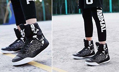 Basketball Chaussures Hommes Salut-top Sneaker Respirant Léger Pu Sneakers En Plein Air Intérieur Noir