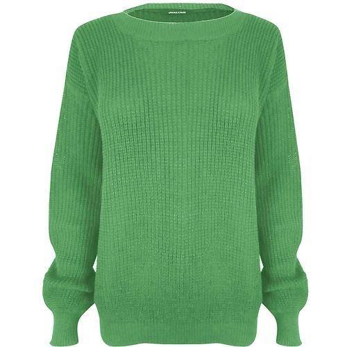Janisramone femmes tricot chunky surdimensionné bouffant manches longues plaine Jumper JADE VERT