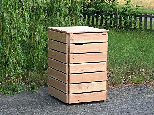 1er Mülltonnenbox / Mülltonnenverkleidung 240 L Holz, Douglasie Natur - 3