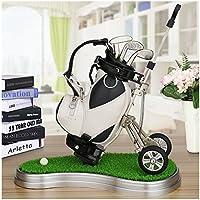 crestgolf PU Leder Weiß Golf Cart, Golf Stifthalter mit 3Golf Gear geformte Stifte/Kunststoff Gras Matte (eine Vielzahl von Farben für Ihre Referenz,), 1Stück