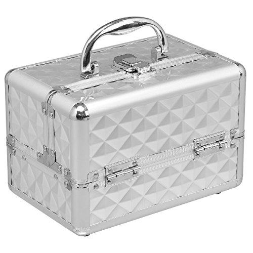 Beauty Case Silber (COSTWAY Kosmetikkoffer Schminkkoffer Beauty Case Schmuckkoffer Multikoffer Friseurkoffer mit Spiegel (Silber))