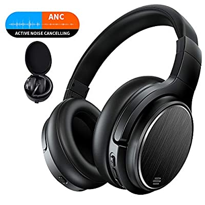 Active Noise Cancelling Bluetooth Headphones, Chaobai Headset Over Ear with Hi-Fi Deep Bass Sound, 50 Hours Music Playback Time, Mic, Wireless Wired Mode, for Phones PC TV Tablets
