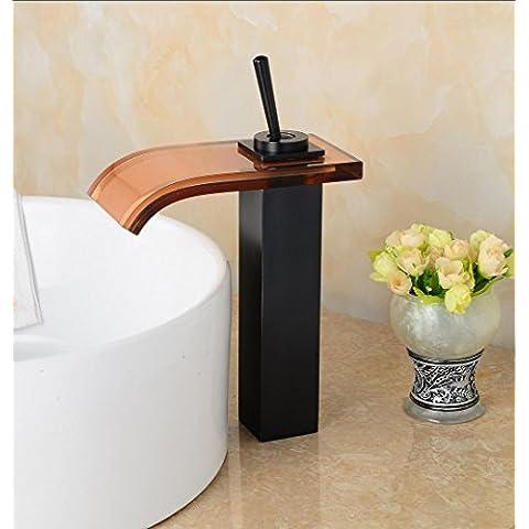 SUN-Bronzo lucidato olio singola maniglia lavandino Vetro temperato rubinetto nero