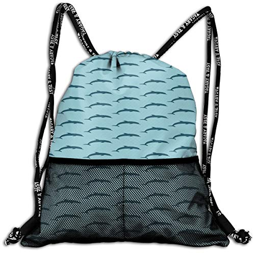 Little Giant Tank (RAINNY Drawstring Backpacks Bags,Ocean Aquatic Fauna Dolphin Silhouette with Blue Color Scheme Abstract,5 Liter Capacity,Adjustable)